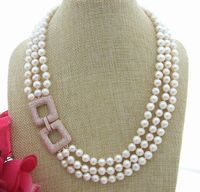 20 3 Strands 8mm White Pearl Necklace Cz pave clasp