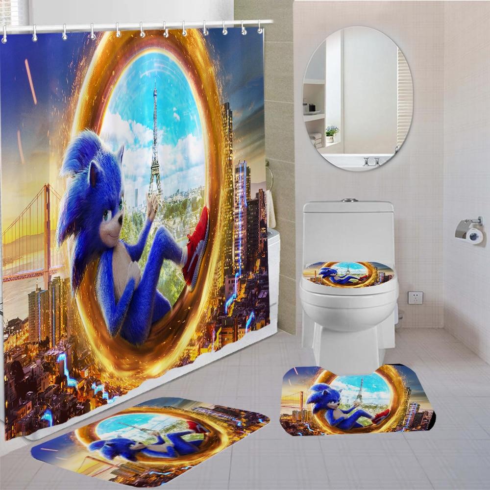 Sonic The Hedgehog Bathroom Shower Curtain Anime Character Shower Curtains Fabric Bathroom Curtain Bath Rugs Toilet Lid Cover Bathroom Accessories Sets Aliexpress