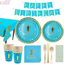 Chzll conjunto de talheres para festas, conjunto de 1 ano de aniversário, talheres descartáveis, placa de chuveiro de bebê, guardanapo, talheres de festa, suplie
