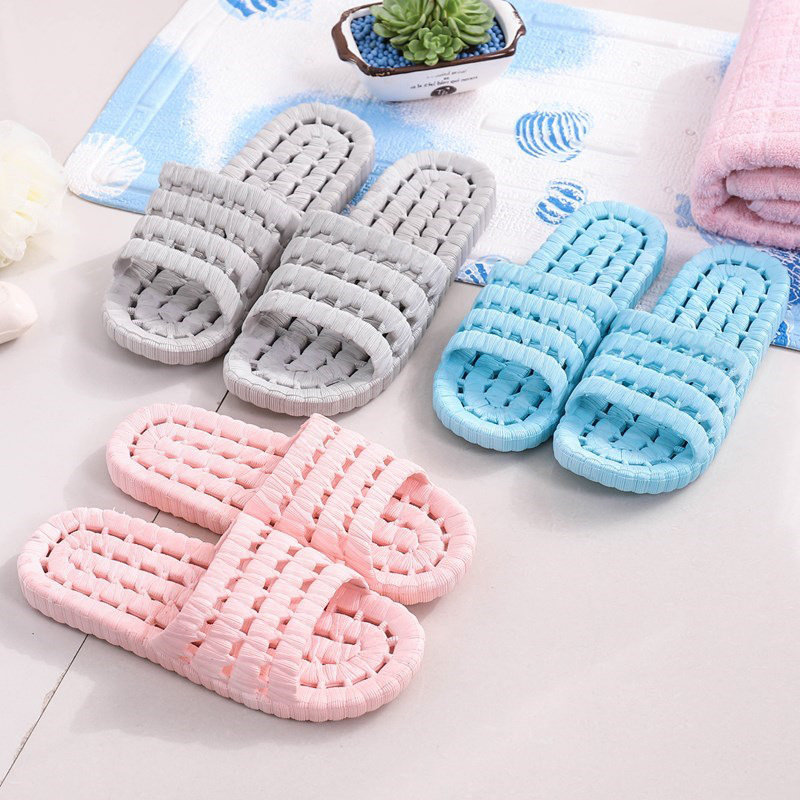 Four Seasons Hollow Soft Bottom Home Slippers Bath Leaky Slippers Slides Mens Shoes House Slippers Couple Bathroom Anti-slip