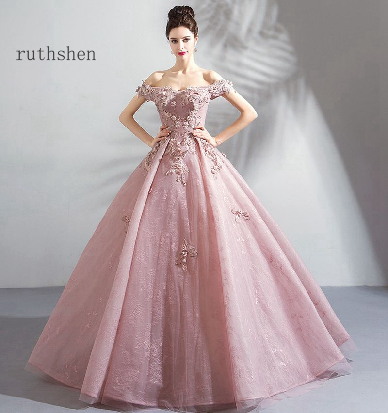 Dusty Pink Prom Dress Long 2020 New Off The Shoulder Beading Ball Gowns Formal Party Evening Gowns Tulle Robe De Soiree