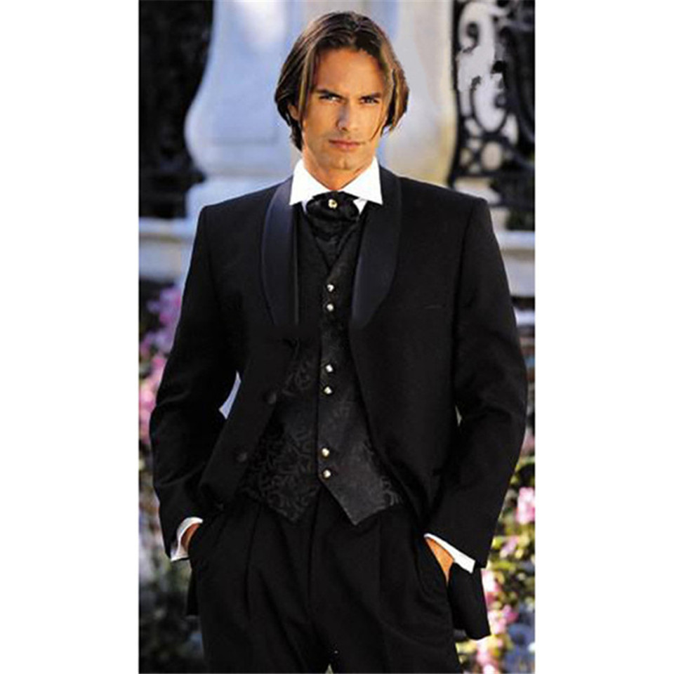 New Classic Men's Suit Smolking Noivo Terno Slim Fit Easculino Evening Suits For Men Black Groom Tuxedos Best Man Masculino Traj