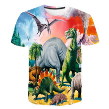 Boys and girls fashion casual cartoon cartoon T-shirt, personalized customized Dinosaur Birthday Party round neck animal T-shirt