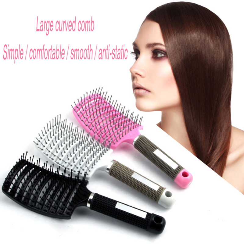 3 Color Hair Scalp Massage Comb Hairbrush Bristle Nylon Women Wet Curly Detangle Hair Brush For Salon Hairdressing Styling Tools