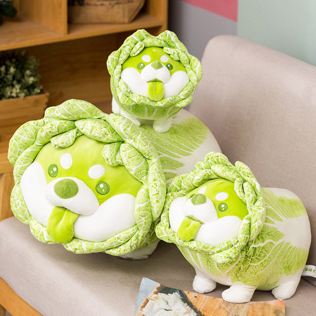 25~55cm Standing Vegetable Dog Doll Cute Shiba Inu Doggy Plush Toy Green Cabbage Soft Animal Children Present 1