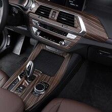Interior do carro de madeira cor para bmw x3 x4 g01 g02 centro da porta do carro console engrenagem filme central ar condicionado quadro navegação guarnição