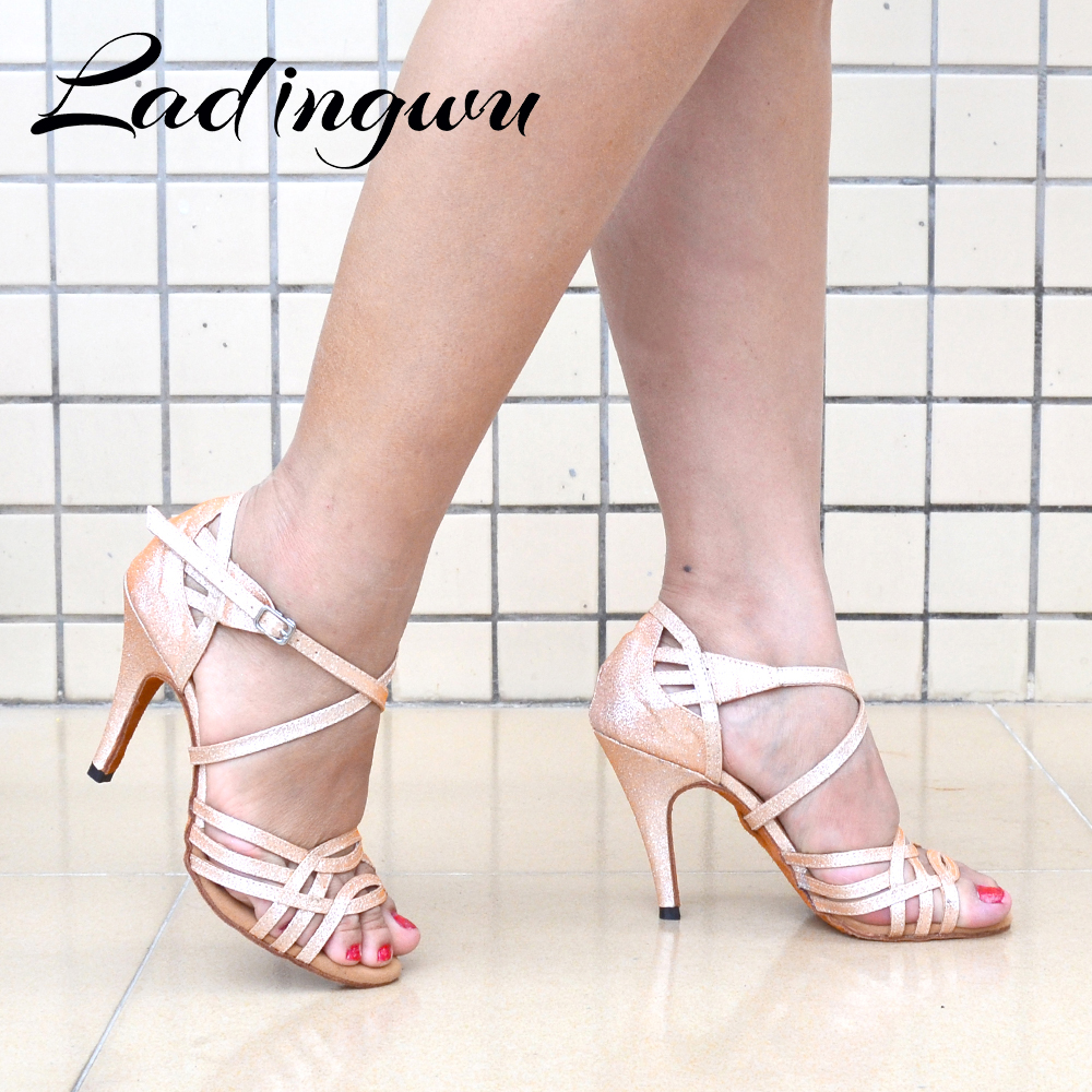 Ladingwu Women Party Dance Shoes Champagne Grey Glitter Cloth Soft Bottom Latin Dance Shoes Woman Salsa Dance Shoes Heels