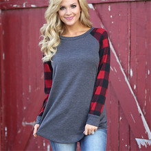 Long Sleeve Shirt Women O Neck Plaid Womens Casual Plus Size Pullover Sweaters Fashion Patchwork Vintage Base