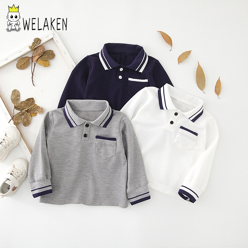 Welaken Boy Shirt Soft-Clothes Long-Sleeved Casual Cotton for Kids School-Style Loose