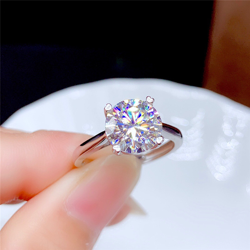 Moissanite-bague en diamant fin pour femmes, bijoux fins pour femmes, cadeau d'anniversaire en argent Sterling 925, 0.5CT 1CT 2CT 3CT VVS de laboratoire 6
