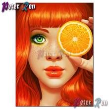 5d алмазная живопись вышивка крестиком красная девушка с апельсинами