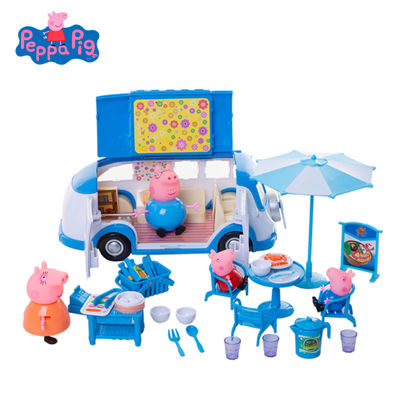 Original Peppa Pig Dining Car Toy Party Picnic Set Action Figure Doll Family Dad Mom George  Model Child Birthday Xmas Gift