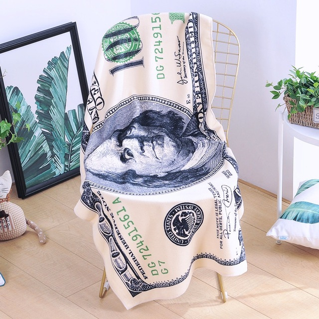 One Hundred Dollar USA Bill Decorative Beach Towel Printed Bath Towel For Beach Swimming Pool Sunbathing