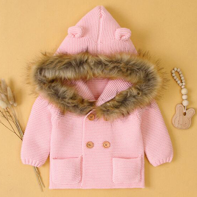 2020 New Winter Baby Boys Girls Knitted Cardigan Jackets Autumn Warm Infant Baby Fur Hooded Sweaters Kids Long Sleeve Coat 4