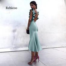 2018 new back cross straps cascading lotus leaf sleeves waist fishtail skirt sexy long dress sheer mesh insert zip back fishtail skirt