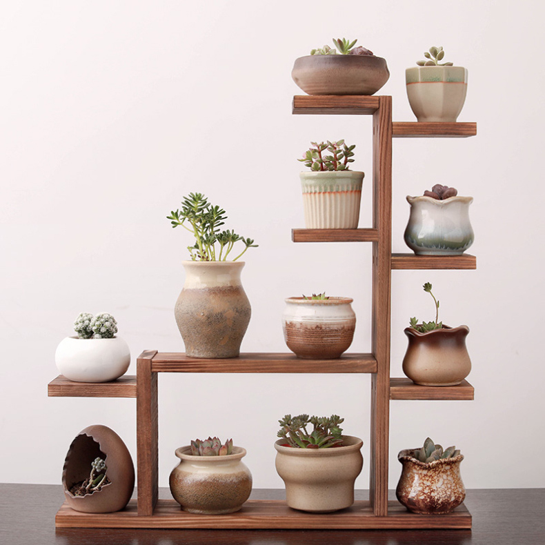 Multi-layer Solid Wood Desktop Flower Stand Indoor Small Flower Stand Green Flower Frame Decoration Living Room Window Pot Rack