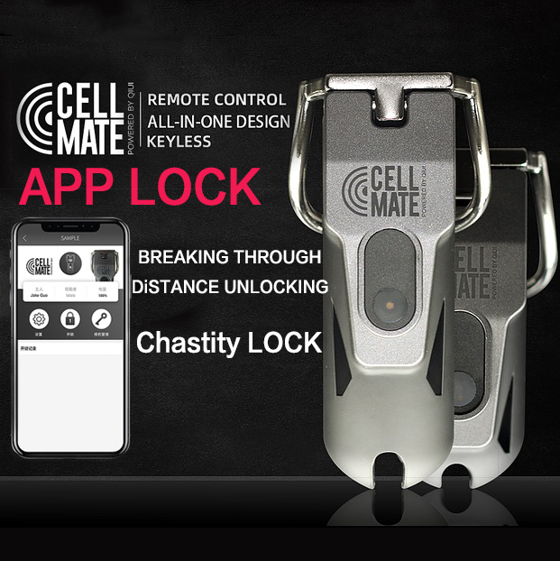 QIUI Chastity Cage Cell Mate Male Chastity Lock SM App Control Chastity Device Cock Penis Ring For Men Silicone Sex Toys For Men