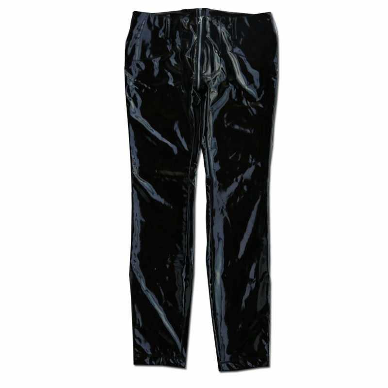 Gợi Cảm Cao Cấp Co Giãn Skinny PVC Giả Da Nam Đêm Clubwear Quần Punk Khóa Kéo Thấp Eo Xe Máy Mùa Xuân Mỏng Quần Bút Chì