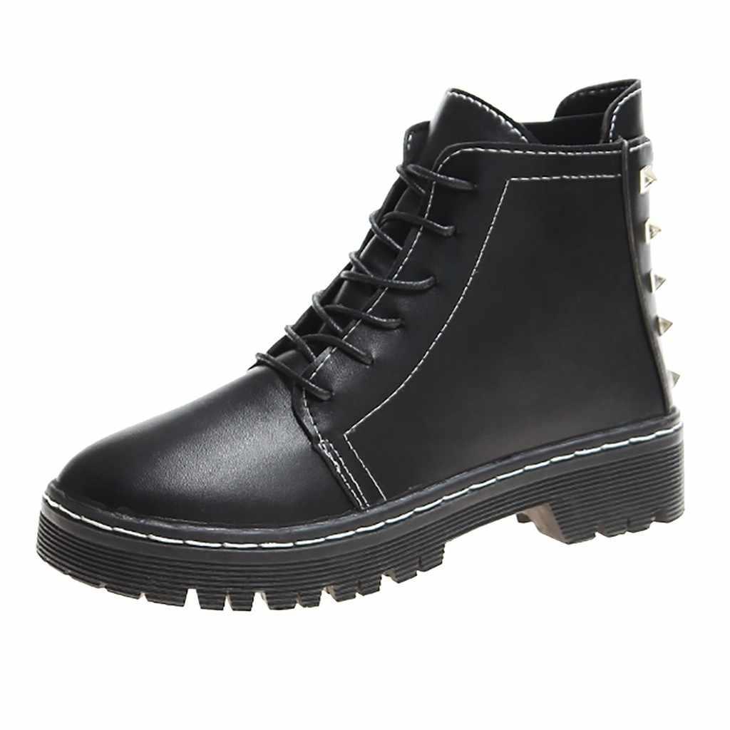 Kadın Retro perçinler rahat Martin çizmeler bayanlar moda kızlar Metal katı patik rahat ayakkabılar kadın kısa çizmeler botas mujer
