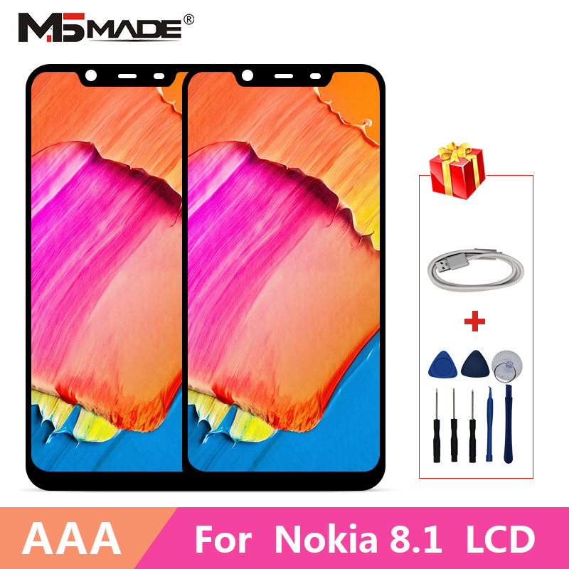 100% Original For Nokia X7 LCD Display 10 Touch Panel Screen For Nokia 8.1 TA-1131 LCD Digitizer Replacement Spare Repair Parts