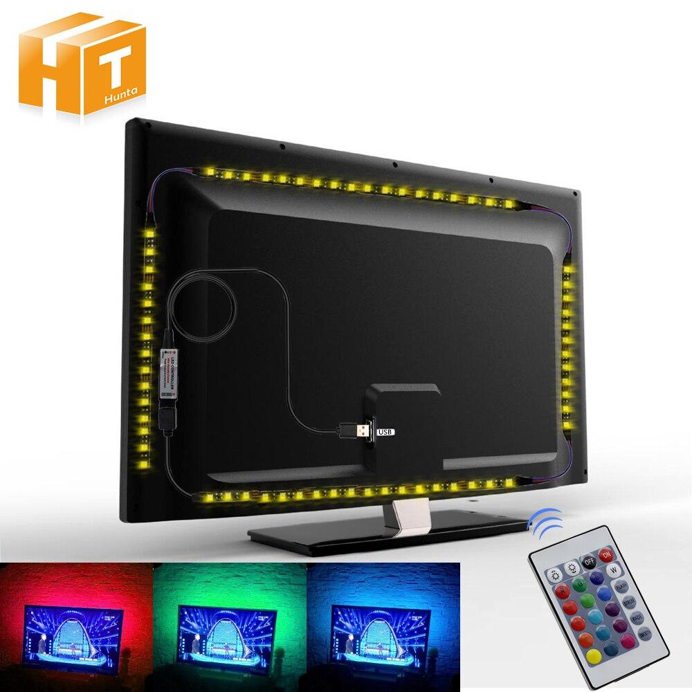 Usb led strip 5050 rgb flexível led luz dc5v rgb cor mutável tv iluminação de fundo.