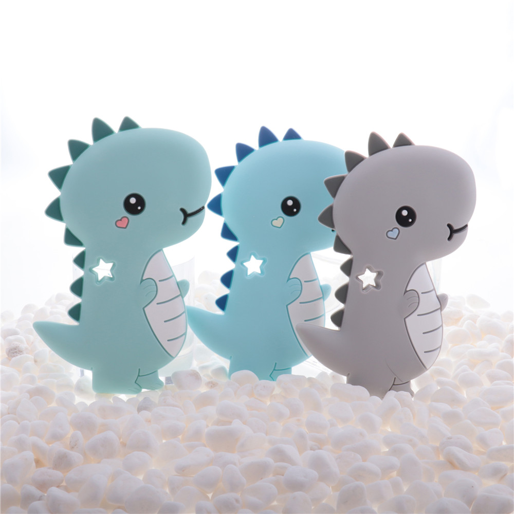 Food Grade 10pcs Stegosaurus Silicone Dinosaur Baby Teethers Dragon BPA Free Infant Products Newborn Pacifier Chain DIY Toys