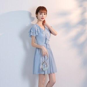 Image 5 - Женское коктейльное платье выше колена, ТРАПЕЦИЕВИДНОЕ голубое, Розовое Шифоновое простое платье без бретелек, вечерние платья для лета, Новое поступление