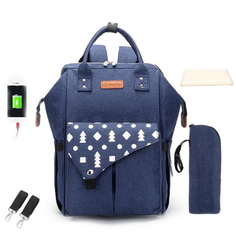Maternity Bags Baby Mummy Bag Waterproof Diaper Nappy Backpack  With USB  Stroller Handbag Shoulder Bags BDL001