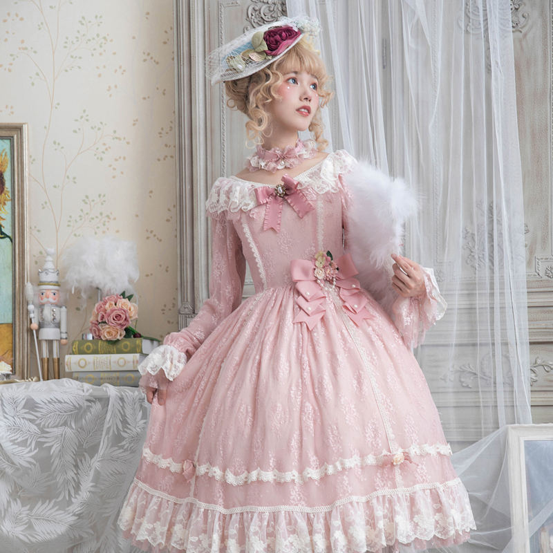 Sweet Vintage Lolita Lace Dress Retro Long Sleeve Party Dress by Miss Point