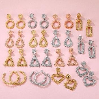 VKME Fashion Oversize metal Earrings For Women Girls Brinco Big Hoop Earrings Circle Earring Statement Geometric Fashion Jewelry 1
