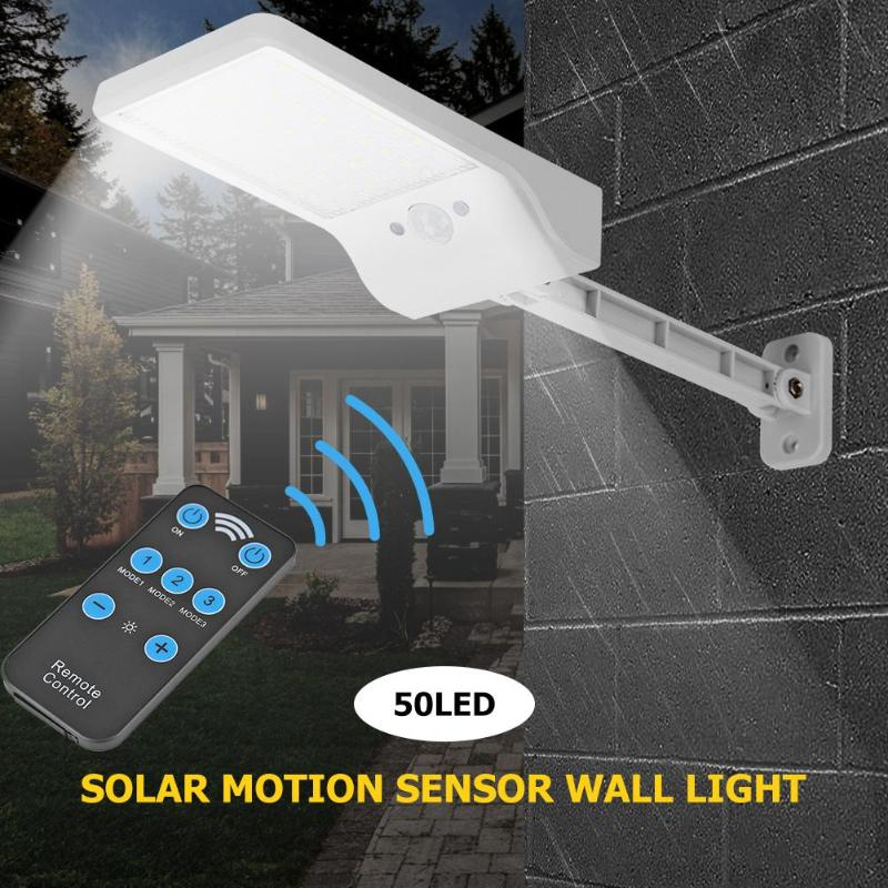 cheapest 1000lm 50LED Solar Wall Lamp PIR Motion Sensor Street Path Light w Remote Control Outdoor Waterproof Solar Garden Lights