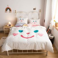 New White Washed Cotton Child Bedding set Love Smiley Towel Embroidery Queen King Duvet Cover Bed Linen Fitted Sheet Pillowcases