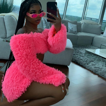 BKLD Sexy Matching Set Women Off Shoulder Long Sleeve Crop Top And Skirt Sets Fashion 2020 Autumn New Fluffy Two Piece Outfits bomblook sexy off shoulder plush two pieces set long sleeve tube crop top 2020 fashion shorts skirt casual clothing streetwear