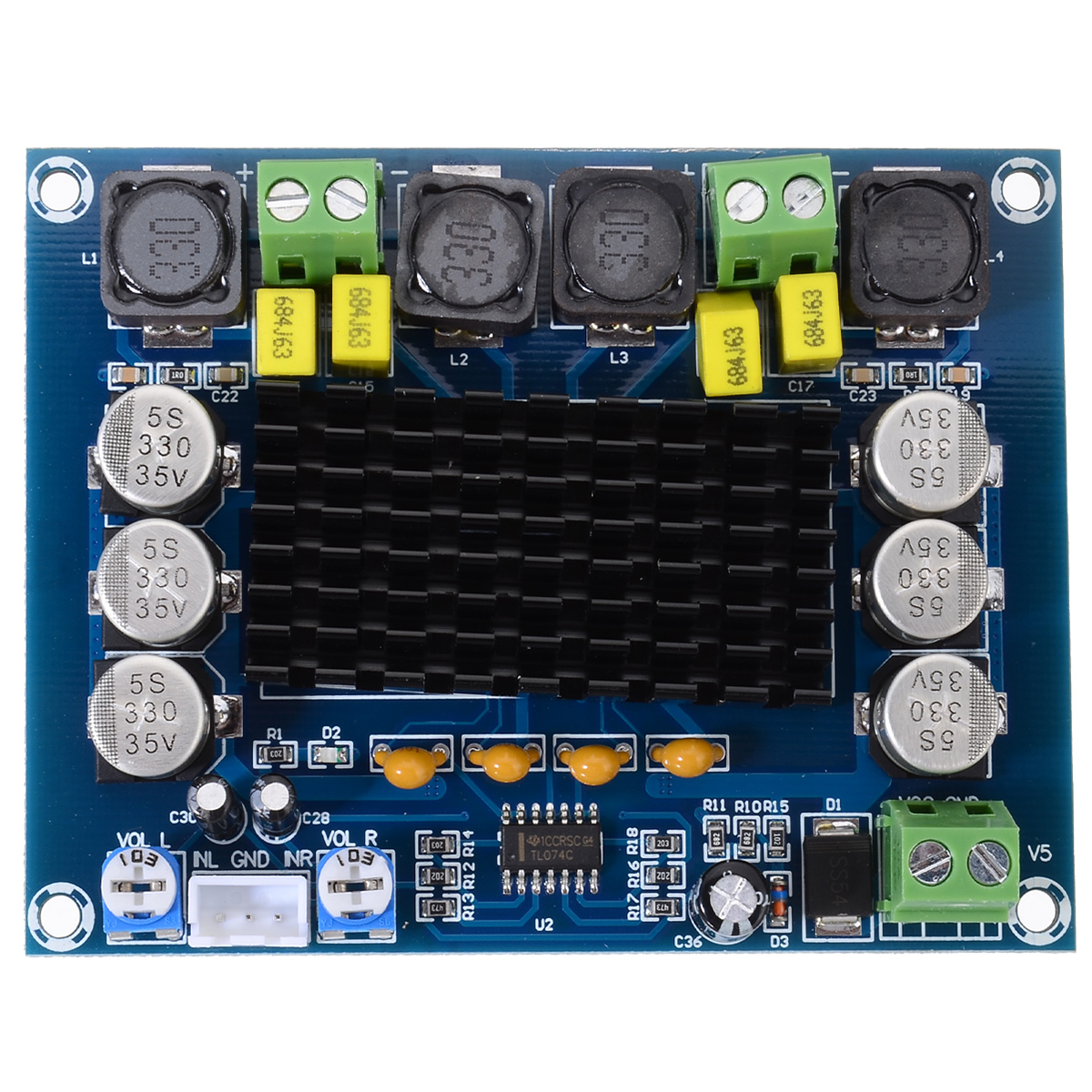 Image 2 - New TPA3116D2 Dual channel Amplifier Boards 2x120W High Power Digital Audio Power AMP Board DC 12 26V For Speaker-in Amplifier from Consumer Electronics