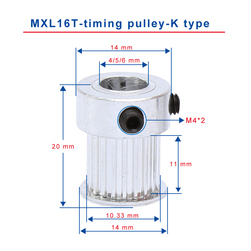 MXL 16-Teeth 4//5//6mm Bore 11mm Width Timing Belt Drive Pulley For Stepper Motor