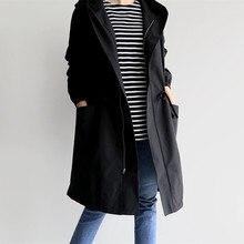 2019 New Autumn Winter Fleece Long Trench Coat Womens Long Sleeve Hooded Outerwear Coats Female Casual Streetwear Jacket