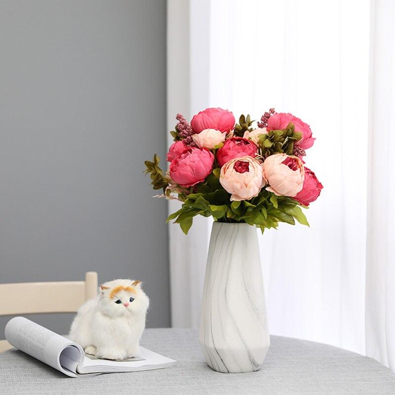 Luyue 13 branche/Bouquet artificielle pivoine fleurs vives Artificiales fausse soie Rose mariée mariage fleur décor couronne Gland maison