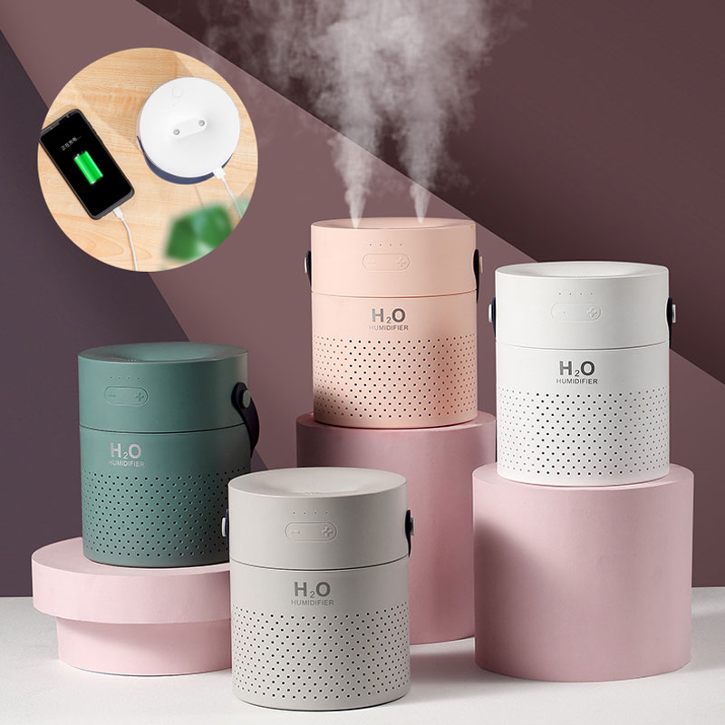 Multifunction Dual Spray Humidifier 4000mAh USB Phone Power Bank With Colorful Lights For Portable Phone Office Home Beadroom