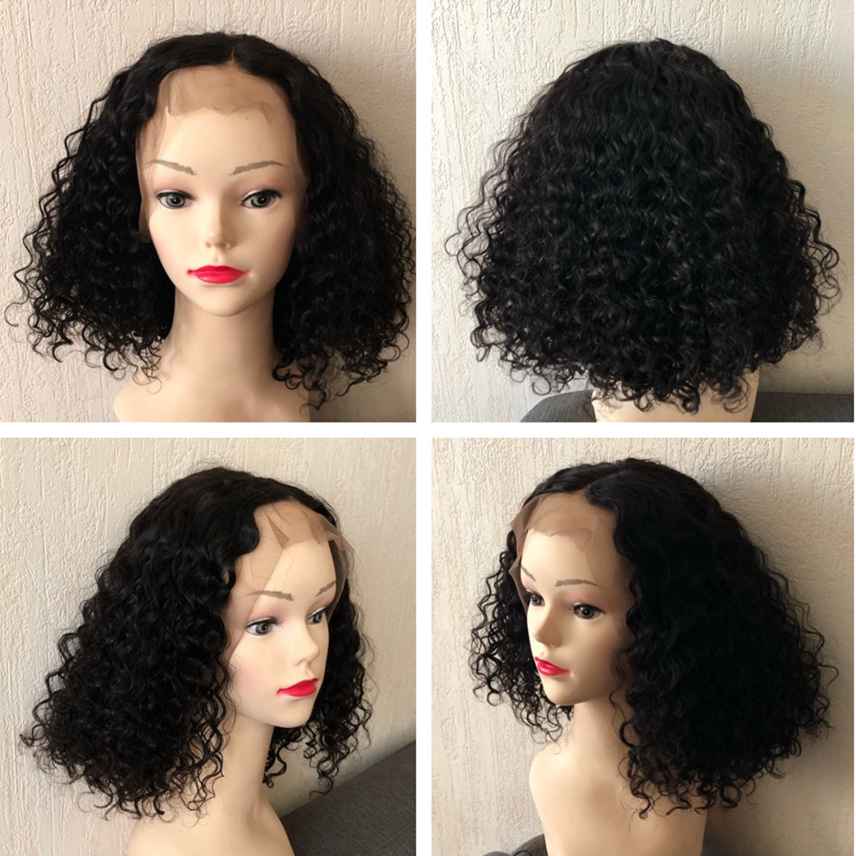 Image 3 - 13x4 Deep Curly Bob Wig Lace Front Human Hair Wigs Brazilian Wig Preplucked Remy For Black Women 8 22 inch Fast Shipping-in Human Hair Lace Wigs from Hair Extensions & Wigs