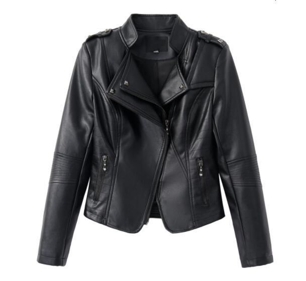 NEW 2019 Hot Shop Classic Women Soft Faux Leather Jackets Lady Cool Ritsen Motorcycle Biker Jacket Slim Short Overwear Black