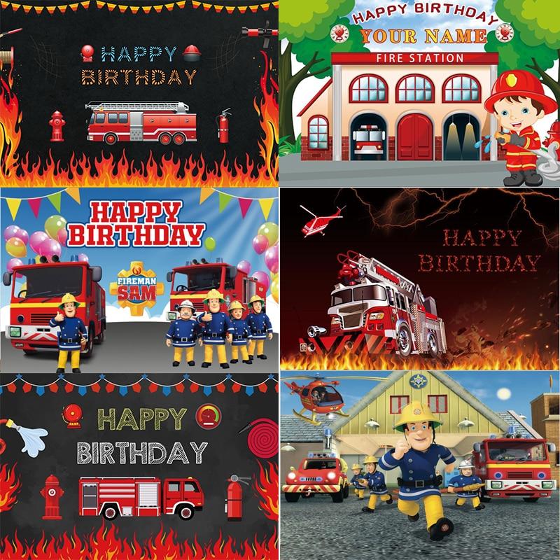 Фон для фотосъемки пожарная машина с сигнализацией мальчиков