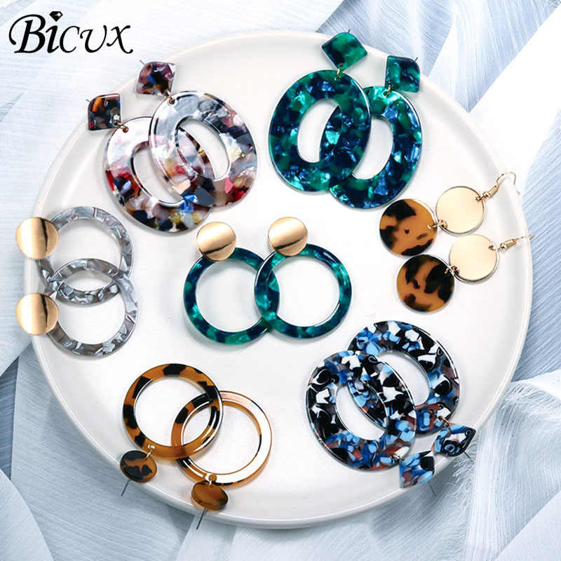 BICUX Fashion Bohemian Statement Acrylic Drop Earrings for Women Vintage Korean Geometry Dangle Hanging Earring 2019 Jewelry