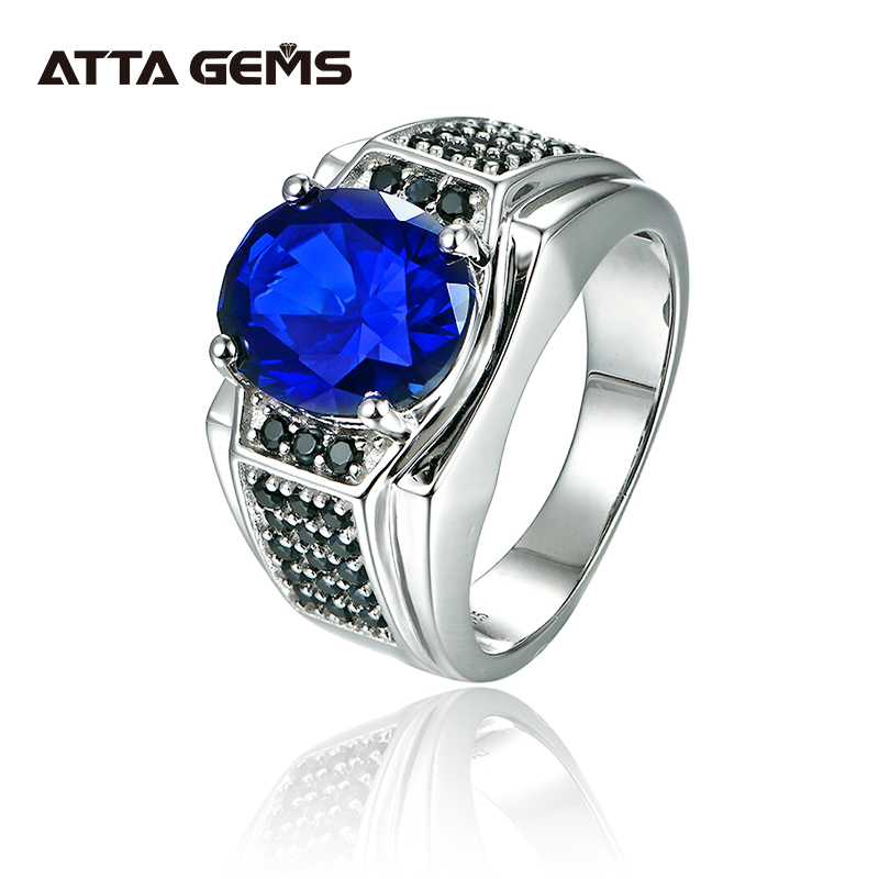 Blue Sapphire Silver Men's Wedding Ring S925 7.2 Carats Created Sapphire Classic Simple Design For Men Fine Jewelry Gift
