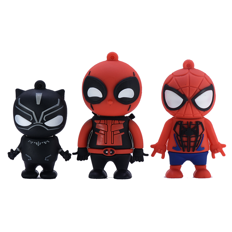 Anime Cartoon Pendrive 64GB 32GB 16Gb 8GB 4GB Panther Deadpool Spider-Man Usb Flash Drive 128GB 256GB Memory Stick