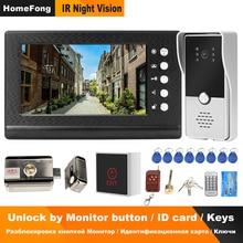 Homefong com fio telefone da porta de vídeo com bloqueio vídeo porteiro para apartamento casa sistema controle acesso bloqueio elétrico 3a controle energia