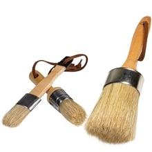 Chalk Paint Brush Stencils Brush Set,DIY Painting Tool for Furniture,Waxing Brushes,Natural Bristles Folk Art,Home Decor