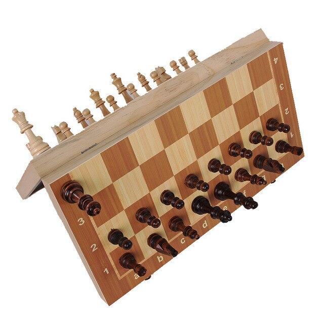 Jeu d'échecs International en bois de haute qualité 24/29/34/39cm, plateau pliant magnétique 1