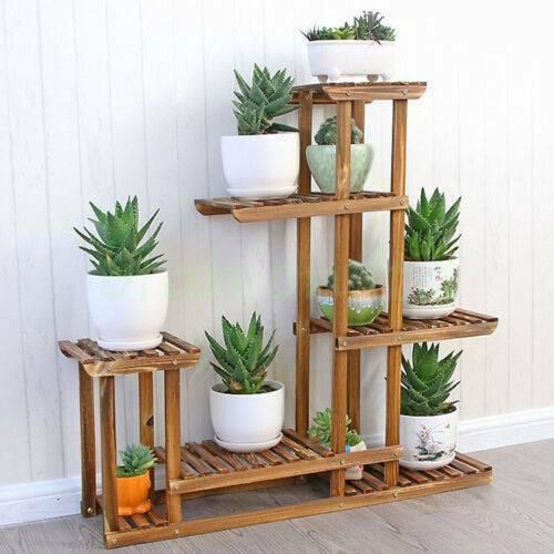 Yonntech de múltiples niveles de planta de flor soporte Rack estantes de madera balcón flor estante planta bonsái de jardín estante de exhibición