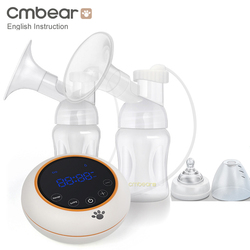 Cmbear Double/Single Electric Breast Pump Powerful Suction Baby Milk Bottle Baby USB Breastfeeding Pump With LED Baby Milk Pump