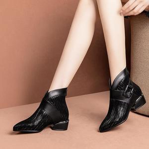 Image 3 - ALLBITEFO doğal koyun derisi inek hakiki deri yarım çizmeler marka moda kız çizmeler için sıcak satış sonbahar kış rahat kadın botları